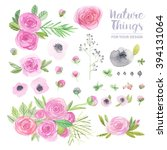 beautiful  set flowers and... | Shutterstock . vector #394131064