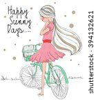 cute girl with bicycle happy... | Shutterstock .eps vector #394132621