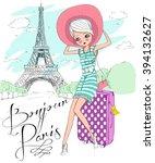 cute girl in paris bonjour... | Shutterstock .eps vector #394132627