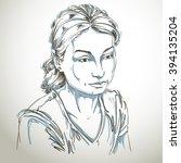 vector portrait of sad... | Shutterstock .eps vector #394135204