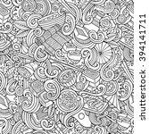 cartoon hand drawn doodles on... | Shutterstock .eps vector #394141711