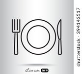 line icon  plate  knife and fork | Shutterstock .eps vector #394143517
