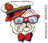 dog in the captain's cap. cute... | Shutterstock .eps vector #394145311