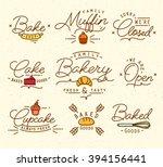flat bakery symbols in vintage... | Shutterstock .eps vector #394156441