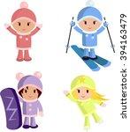 little girls and winter sports | Shutterstock .eps vector #394163479