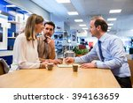 salesman asking young couple to ... | Shutterstock . vector #394163659