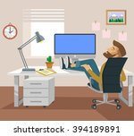 freelance worker. vector flat...   Shutterstock .eps vector #394189891