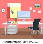 workplace. vector flat... | Shutterstock .eps vector #394192867