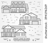 set of vector thin line icon ... | Shutterstock .eps vector #394196269