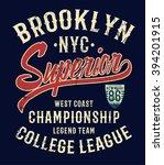 college new york typography  t... | Shutterstock .eps vector #394201915
