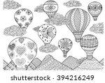 hot air balloon flying ... | Shutterstock .eps vector #394216249