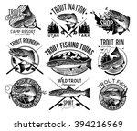 vintage trout fishing emblems ... | Shutterstock .eps vector #394216969
