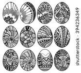 hand drawn easter eggs set for... | Shutterstock .eps vector #394236349
