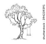 tree and swing. vector sketch.  | Shutterstock .eps vector #394239391