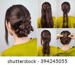 simple elegant hairdo for long... | Shutterstock . vector #394245055