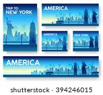 set of usa landscape country... | Shutterstock .eps vector #394246015