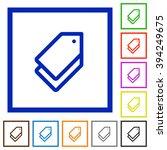 set of color square framed tags ...