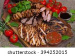 mixed grilled meat platter.... | Shutterstock . vector #394252015