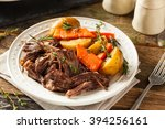 homemade slow cooker pot roast... | Shutterstock . vector #394256161