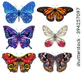 butterfly. set of vector... | Shutterstock .eps vector #394257097