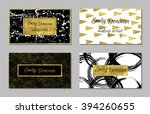 set of 4 golden business card... | Shutterstock .eps vector #394260655