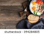 breakfast set. pan of fried... | Shutterstock . vector #394284805