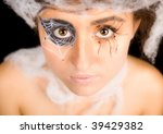 portrait of girl in web makeup - stock photo