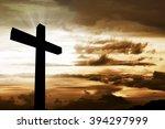 wooden christian cross.... | Shutterstock . vector #394297999