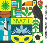 vector illustration with brazil ... | Shutterstock .eps vector #394300231