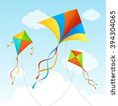 fly kite in sky. summer... | Shutterstock .eps vector #394304065