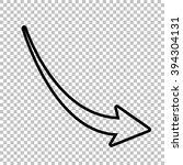 declining arrow sign. line icon ... | Shutterstock . vector #394304131