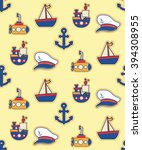 cute nautical seamless pattern... | Shutterstock .eps vector #394308955