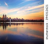 sunset over central park  new... | Shutterstock . vector #394312621