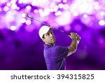 golf player in a purple shirt...   Shutterstock . vector #394315825