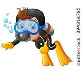 cute boy snorkeling   Shutterstock .eps vector #394316785
