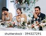 emotional beautiful newlywed... | Shutterstock . vector #394327291