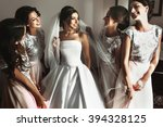 beautiful bride   bridesmaids... | Shutterstock . vector #394328125