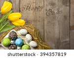 easter card with colorful eggs... | Shutterstock . vector #394357819