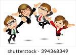 people set   business   happy... | Shutterstock .eps vector #394368349