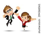 people set   business   happy... | Shutterstock .eps vector #394368361