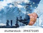double exposure of businessman... | Shutterstock . vector #394373185