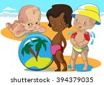 black kid playing on a sea... | Shutterstock .eps vector #394379035