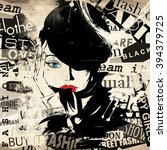 modern teenage girl on grunge... | Shutterstock . vector #394379725