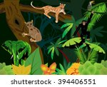 tarsier on trunk  leopard lying ... | Shutterstock .eps vector #394406551