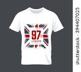 vintage united kingdom flag tee ... | Shutterstock .eps vector #394407025
