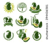 avocado labels and elements set.... | Shutterstock .eps vector #394436581