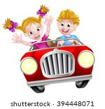 cartoon boy and girl having fun ... | Shutterstock . vector #394448071