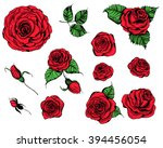 Stock vector hand drawn set of roses rose buds and leaves on white background 394456054