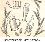 Set Of Beer Objects. Hand Draw...