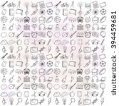 hand drawn school icons set.... | Shutterstock .eps vector #394459681